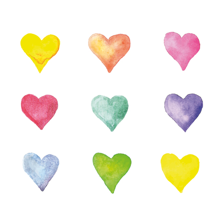Beautiful Vector illustration pattern with watercolor hearts. Vector design isolated on white background flat illustration
