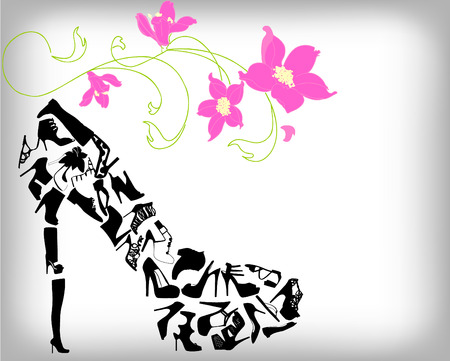 elegant lady: Fashion shoes background Illustration