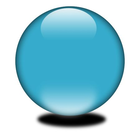 3d blue colored sphere.  Eye catching glossy orb for your e-business or website. photo
