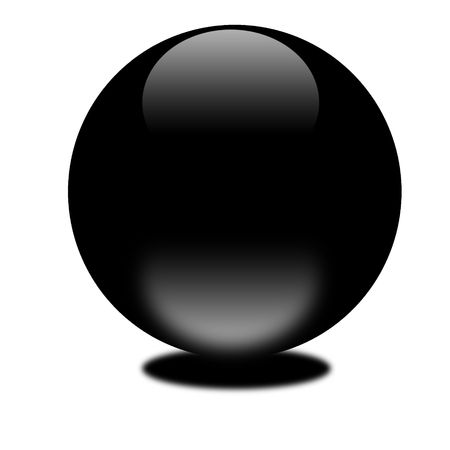 3d black sphere.  Eye catching glossy orb for your e-business or website. photo