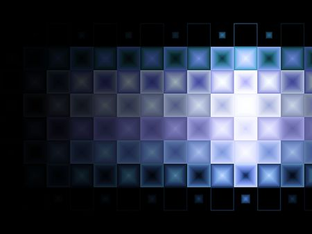 Blue and Purple tile background with light effect. Perfectly aligned squares of multi colored blues and purples on a black background.