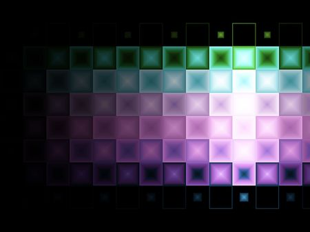 Multi colored tile background with light effect.  Tiles merge into a back background.