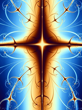abstract symbolism: Gold Cross. Modern cross design with blue background and light effect.