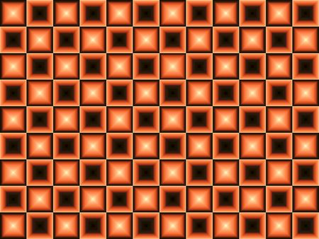 centers: Orange and Black Background.  Orange and black squares half with black centers and half with bright light effect in center. Stock Photo
