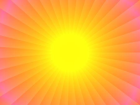 抽象的な太陽の設計。 鮮やかな黄色で、中心。