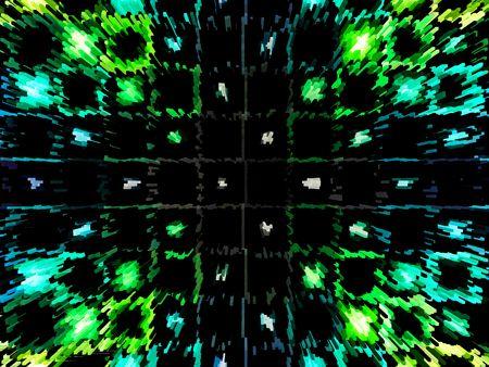 breen: 3d futuristic city.  Blue, breen and black. Stock Photo
