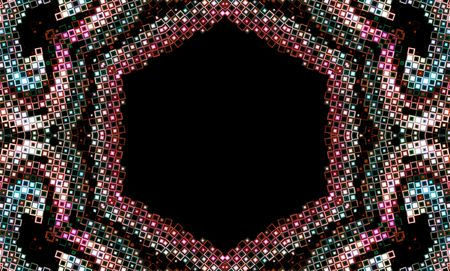 copy center: Abstract jewel colored design with black copy space in center Stock Photo