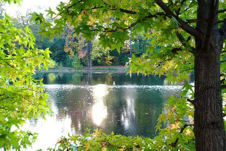 태양 반사와 아름 다운 호수