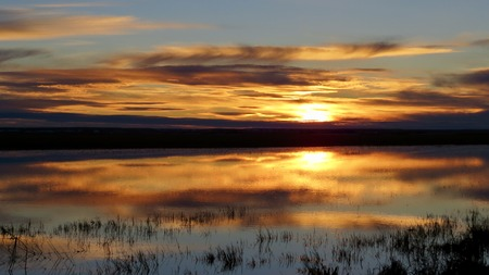 prairie: Fiery prairie sunset, reflecting on the water