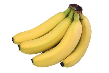 potassium: A bunch of perfect yellow bananas isolated against a white background.