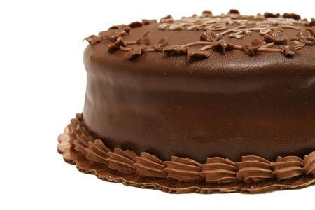 chocolaty: A dark chocolate fudge birthday cake, side view.  Isolated.