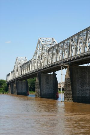runoff: A vertical view of the Clark Memorial Bridge over the Ohio River Stock Photo