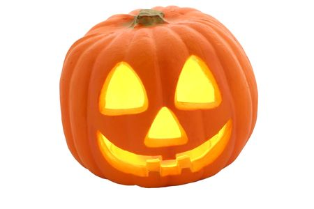 A Halloween Jack O Lantern isolated against a white background.