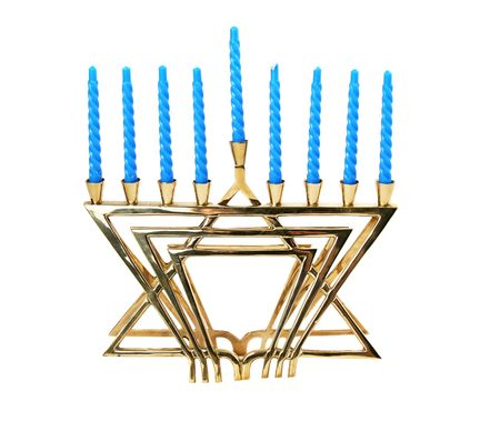 A golden menorah with candles, isolated.