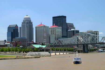 Downtown Louisville Kentucky as viewed from a boat in the Ohio River. Stock Photo