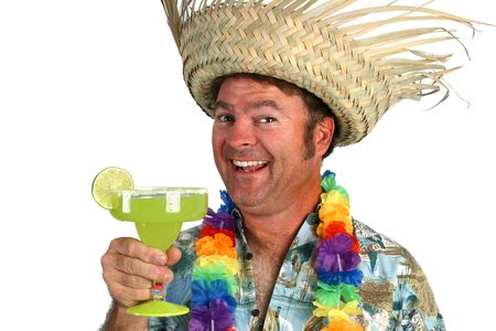 hairy chest: A man in a Hawaiian shirt, lei, and straw hat holding a margarita and looking really happy. Stock Photo