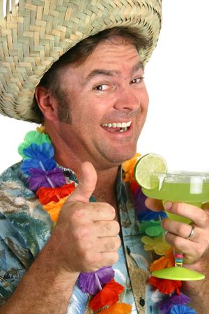 tipsy: A man in a Hawaiian shirt with a lei & a straw hat, holding a margarita.  Hes giving the Thumbs Up sign.