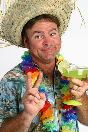 tipsy: A photo of a very drunk looking man in a Hawaiian shirt, lei, and straw hat, holding a margarita. His eyes are crossed and hes giving a peace sign. Stock Photo