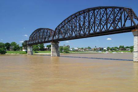 across: An old railroad bridge across the Ohio River from Kentucky to Indiana.