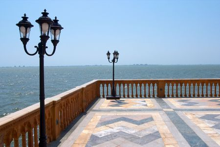 palazzo: A view of the gulf of mexico from a venetian style palazzo. Stock Photo