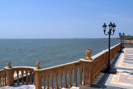 gulf of mexico: The Gulf of Mexico viewed from a Venetian style palazzo.