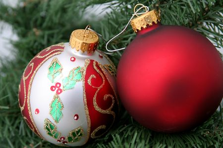 two christmas ornaments in hanging in a tree. Stock Photo - 205790
