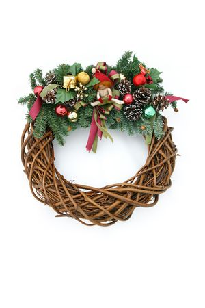 A beautiful Christmas Wreath isolated on a white background. photo