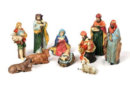 神聖な家族、賢者、羊飼い、動物との完全なキリスト降誕のシーン。白い背景で隔離されました。