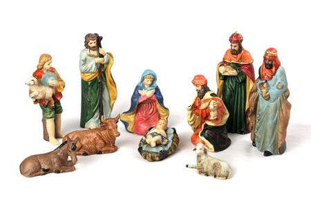 A complete nativity scene with the Holy Family, wise men, shepherds, and animals.  Isolated on a white background.