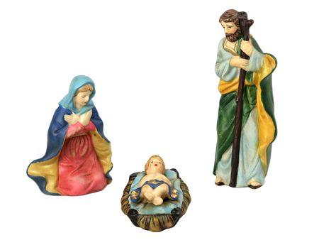 guarder�a: La familia, el Jes�s, la Maria y el Jos� santos, aislados por separado en un fondo blanco.