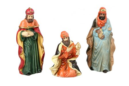 creche: The three wise men from the Christmas story.  Isolated. Stock Photo
