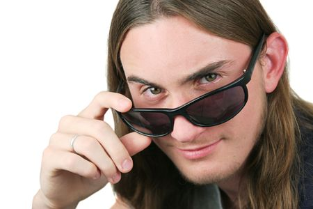 teenaged: A handsome teenaged boy with sunglasses. Isolated. Stock Photo