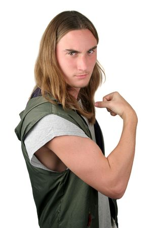 teenaged boys: A tough young bully.  Isolated. Stock Photo