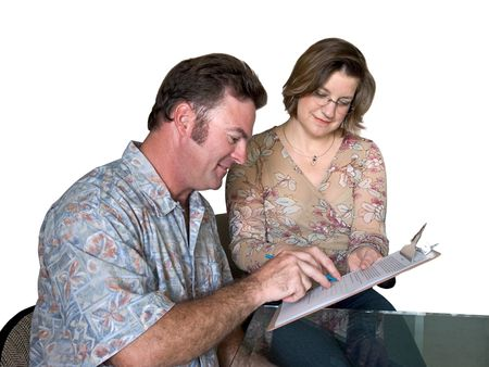 applicant: a job applicant filling out forms with help from a woman - isolated Stock Photo