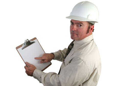 concern: a construction inspector pointing with concern to his report on this clipboard - isolated Stock Photo