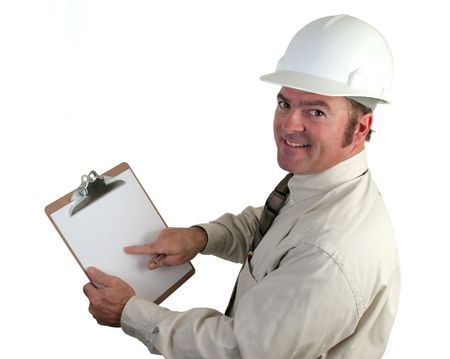 A construction supervisor happy, pointing out a good report - isolated 版權商用圖片