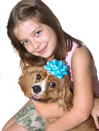 a little girl hugging her spaniel dog - isolated