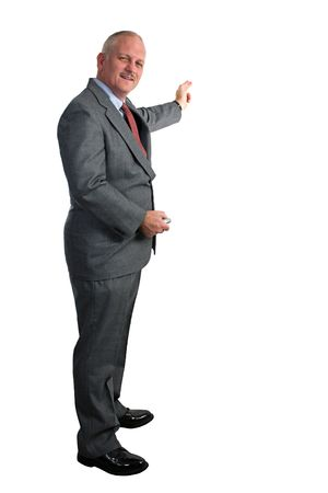 a full view of a weatherman (or businessman) pointing at a chart or map.  Room for text or graphics. Stock Photo - 228340