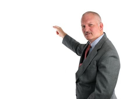 A meteorologist pointing to a weather map or a business man pointing to a chart. (room for weather map or chart to be inserted) Stock Photo - 228341