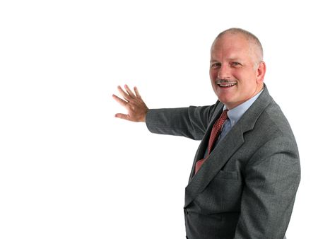 A weatherman indicating good weather on a map, or a businessman pointing to a chart. (room to insert map or chart) Stock Photo - 228336
