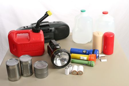 necessary: A collection of items necessary to survive in the aftermath of a hurricane Stock Photo