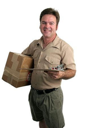 a delivery man with a package and a clipboard - isolated Stock Photo - 231381