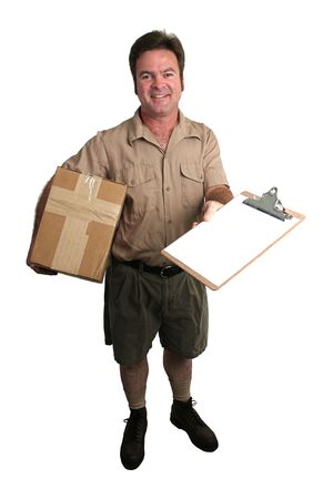 a courier delivering a package and holding out a clipboard for a signature - isolated photo