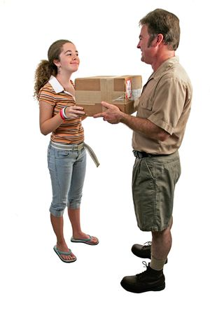 a girl taking delivery of a package from a courier