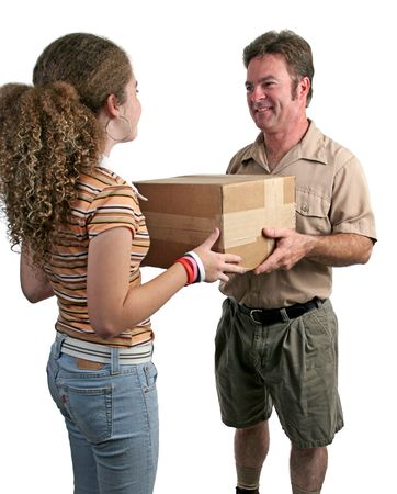 a delivery man giving a package to a girl - isolated Stock Photo - 231374