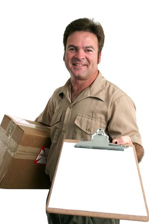 bringing: a delivery man bringing a package and holding out a clipboard