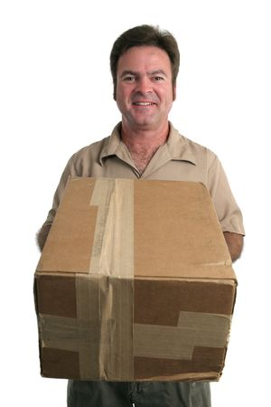bringing: a friendly delivery man bringing a package - isolated