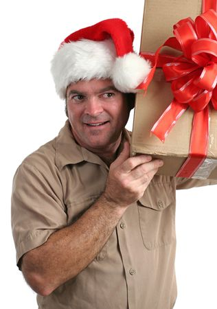 supposed: a delivery man in a Santa hat listening to a gift hes supposed to deliver