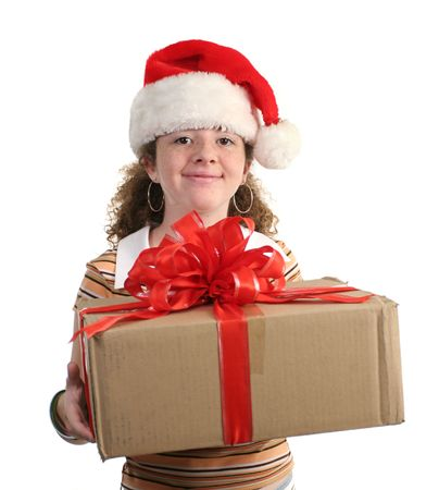 either: A happy, smiling girl in a Santa hat, either receiving or giving a gift - isolated