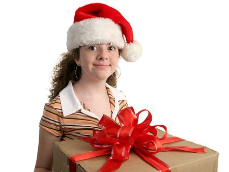 a young girl looking excited about a Christmas gift - isolated